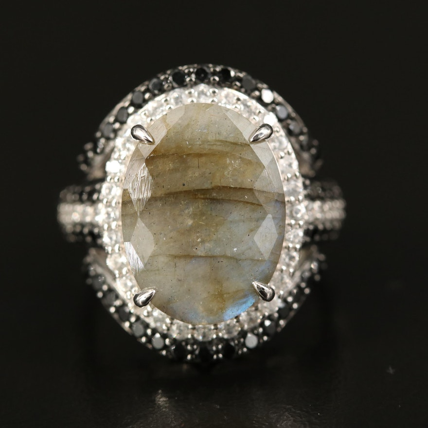 Sterling Labradorite, Zircon and Spinel Ring