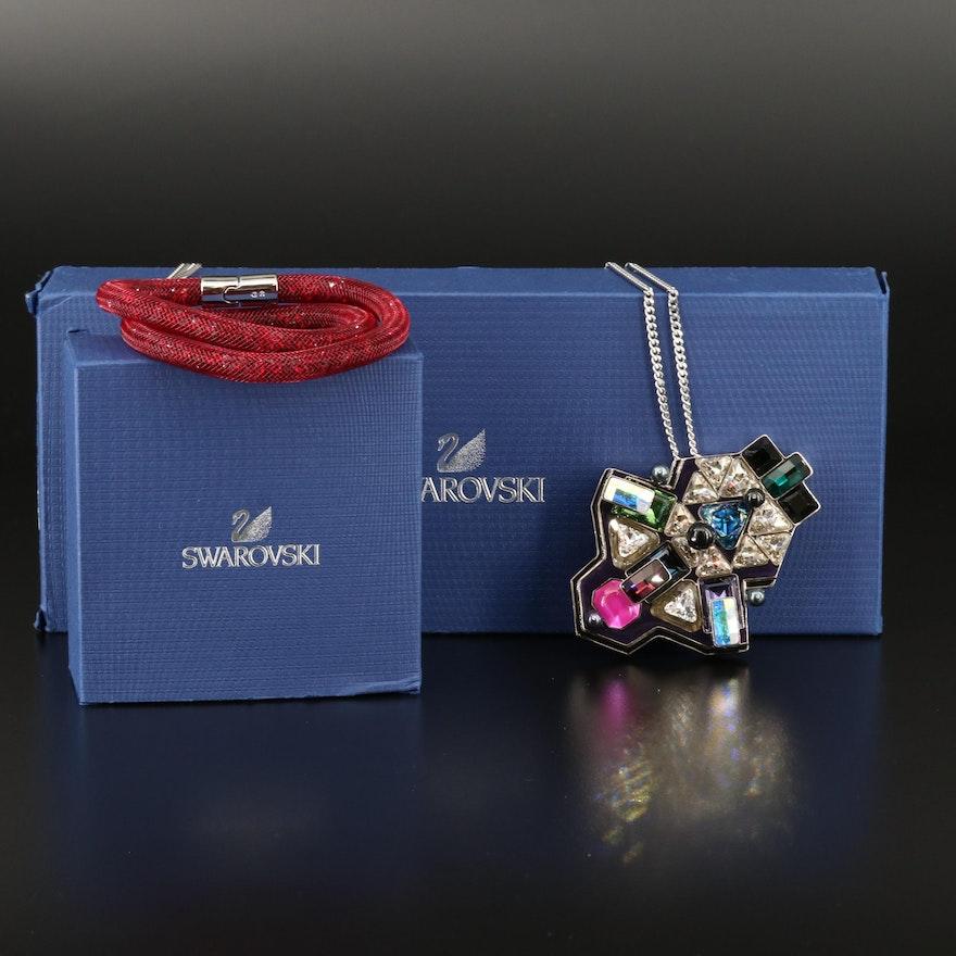 """Swarovski """"Buzz"""" Geometric Necklace and """"Stardust"""" Double Wrap Bracelet"""