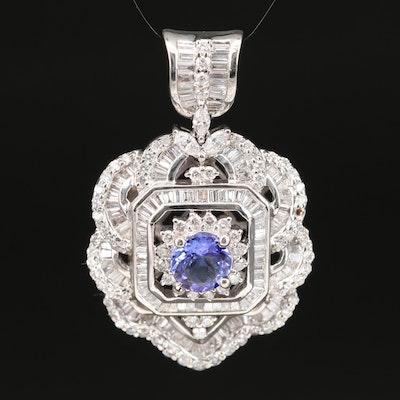 18K 5.35 CTW Diamond and 1.37 CT Tanzanite Pendant