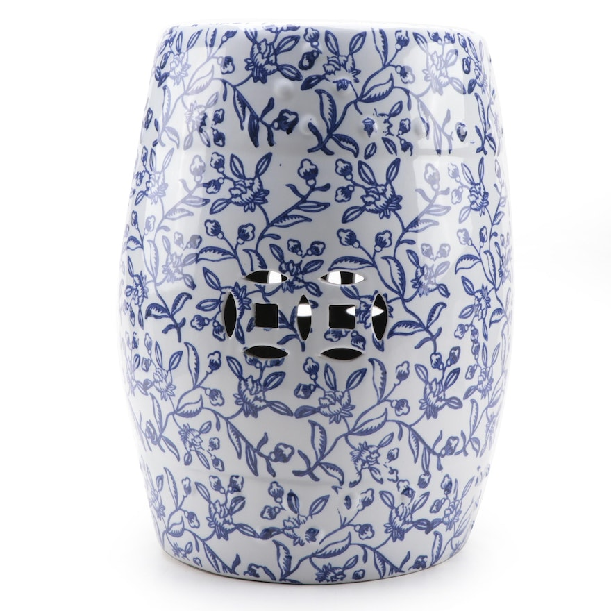 Chinese Blue on While Floral Garden Stool