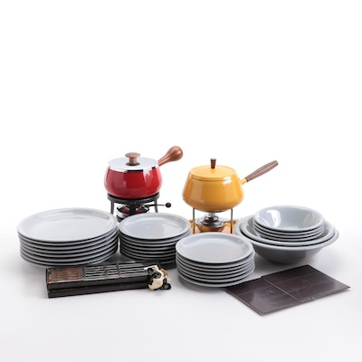 Anchor Dinnerware and Fondue Pot Sets with Fondue Forks, and Cow Magnet