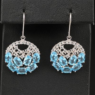 Circular Openwork Topaz Cluster Earrings in Sterling