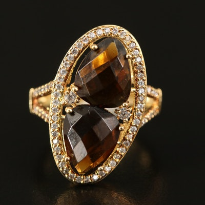 Glass and Cubic Zirconia Oval Ring