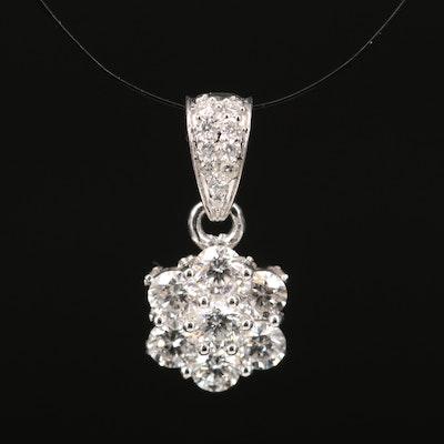 14K Diamond Cluster Pendant