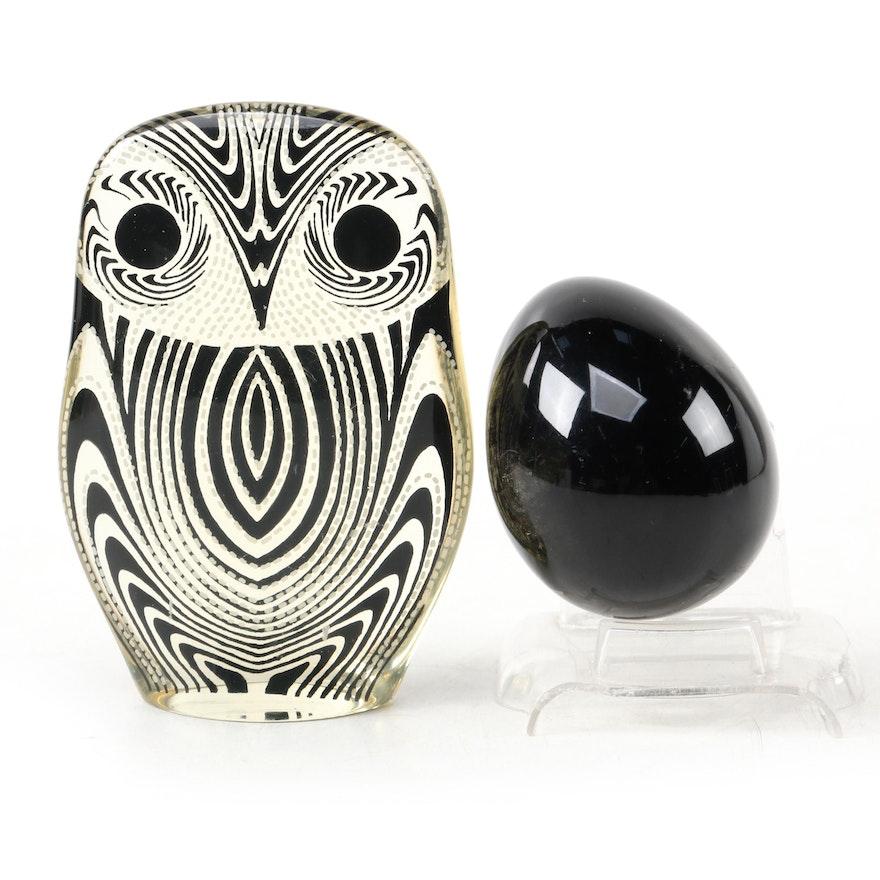 Mid Century Modern Composite Owl Figurine with Obsidian Egg