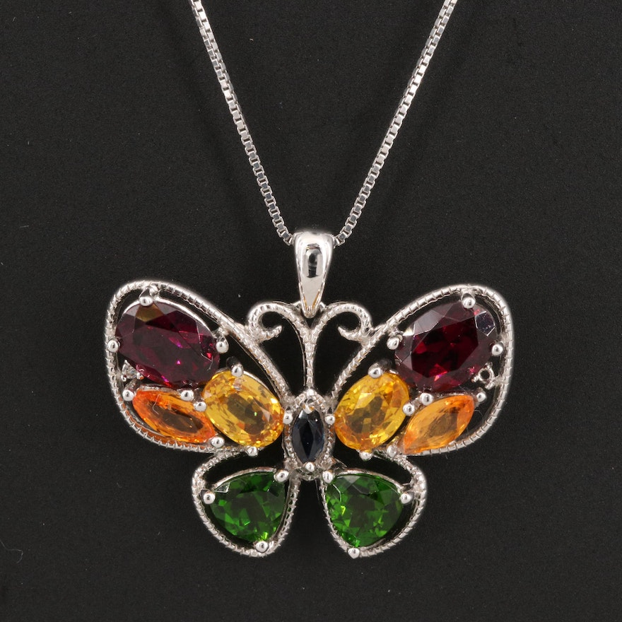 Sterling Rhodolite Garnet, Sapphire and Diopside Butterfly Pendant Necklace