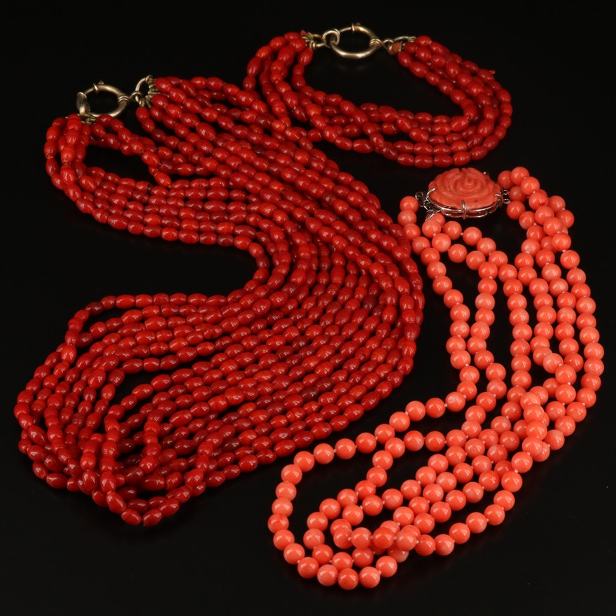 Coral and Glass Necklaces and Bracelet Including Sterling Silver