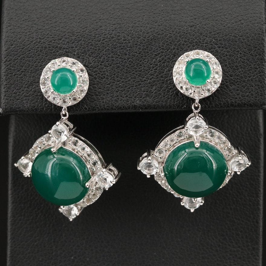 Sterling Chalcedony and White Topaz Earrings