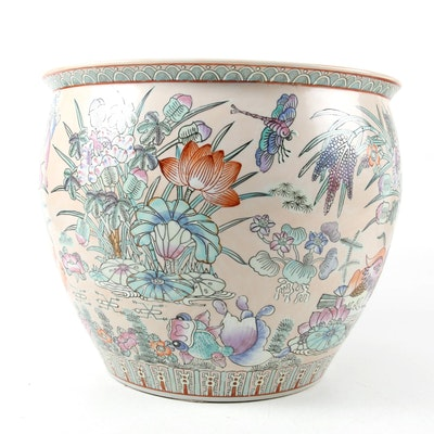 Chinese Polychrome Ceramic Fishbowl Planter, Late 20th Century