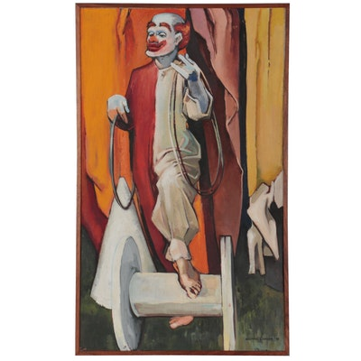 Wayman E. Brown Clown Oil Portrait, 1951