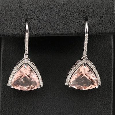 14K Morganite Triangular Earrings with Diamond Halos