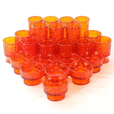 "Fostoria Flaming Orange ""Pebble Beach"" Glassware"