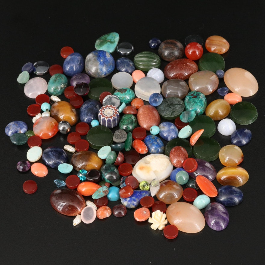 Loose Gemstones Including Agate, Tiger's Eye and Lapis Lazuli