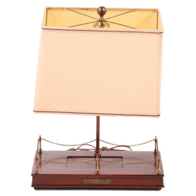 Mounted Wood Display Stand Table Lamp, Mid-20th Century