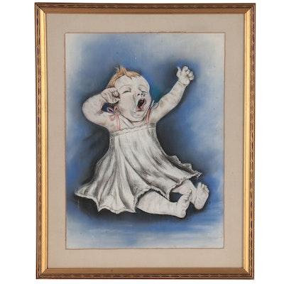 "Pastel Drawing ""Glum,"" Circa 1975"