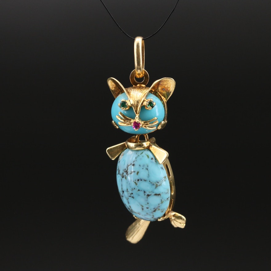 UnoAErre 18K Turquoise, Ruby and Gemstone Articulated Cat Pendant
