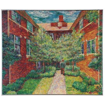 Stephen Kasun Post-Impressionist Style Landscape Oil Painting, 1995