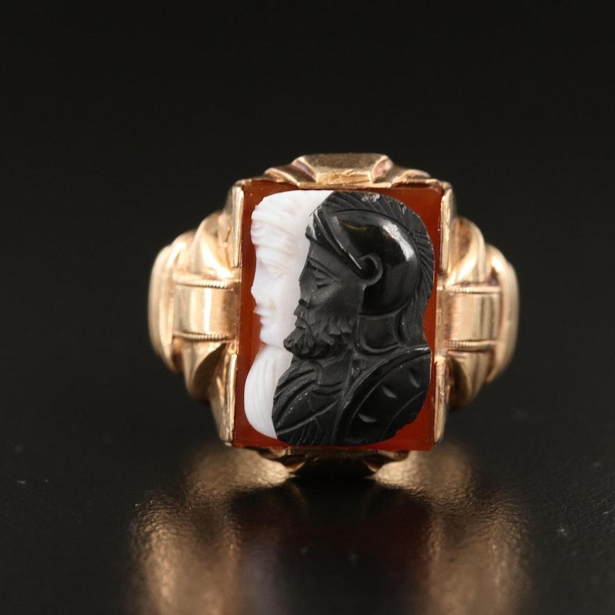 10K Sardonyx Double Cameo Ring