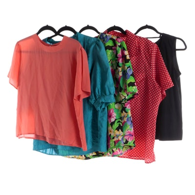 Short Sleeved Blouses and Polka Dot Shirt with Black Knit Sleeveless Top