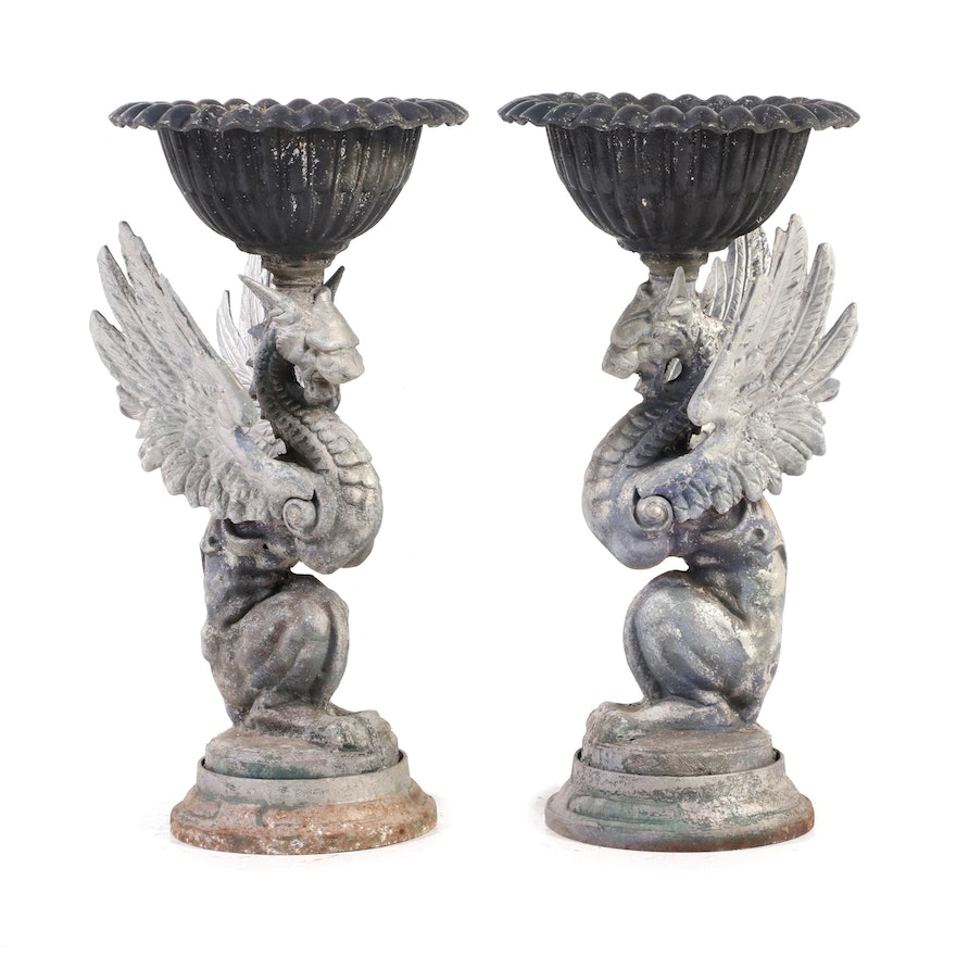 Pair of Victorian Style Cast Metal Griffin Planters, Early 20th Century
