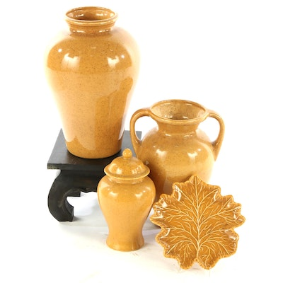 Royal Haeger Pottery Mustard Ceramic Urns with Stand and Leaf Dish