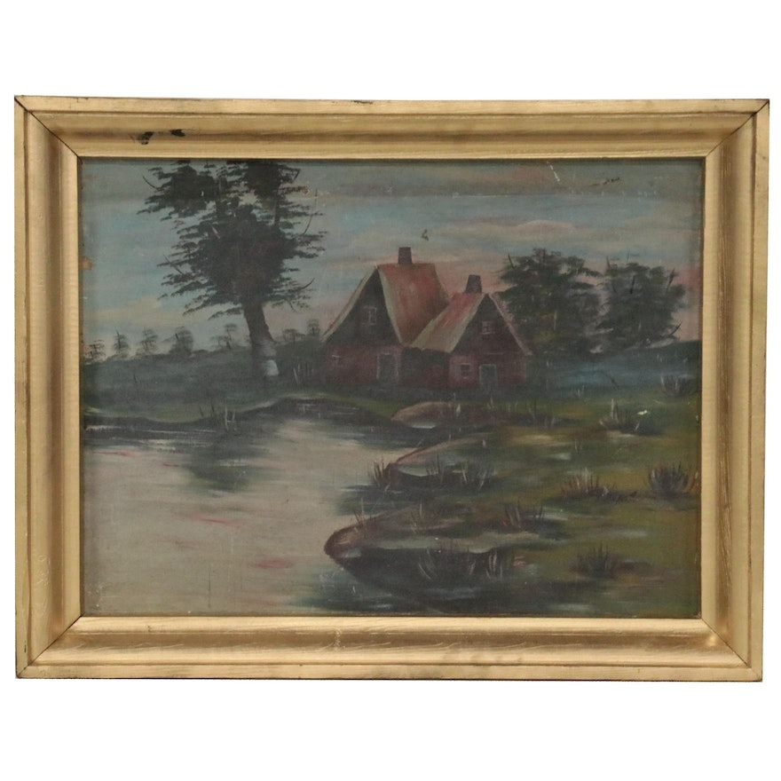 Landscape Oil Painting of Cottage Near a Lake, Mid-20th Century