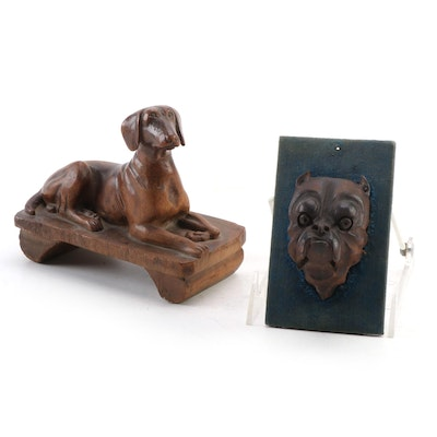 Hand-Carved Wood Dog Figurine and Wall Hanging, 20th Century