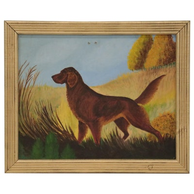 Oil Painting of Irish Setter in Landscape, Mid to Late 20th Century
