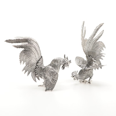 Pair of Fighting Roosters White Metal Table Figurines