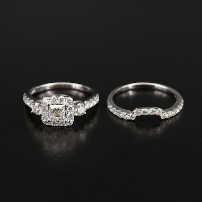 14K 1.76 CTW Diamond Ring and Contour Shadow Band