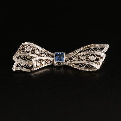Edwardian Krementz 14K Sapphire Bow Brooch with Platinum Top