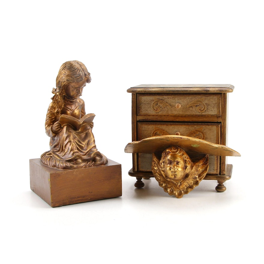 Florentine Style Wooden Music Jewelry Box with Decorative Sculpture and Bracket