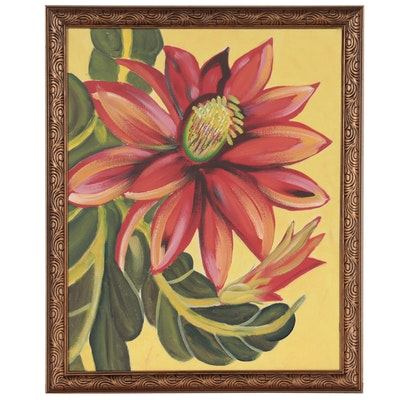 Abstract Acrylic Painting of Flower, Late 20th Century