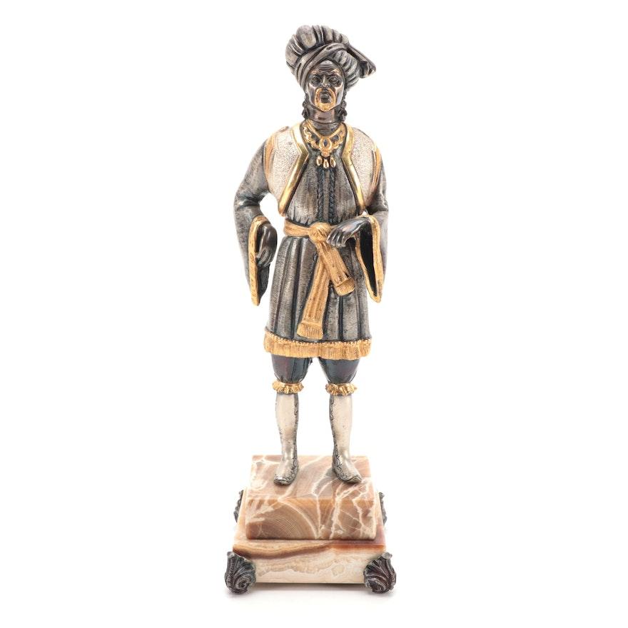 Anna Dauesiu Gilt and Silvered Bronze Figurine on Onyx Base