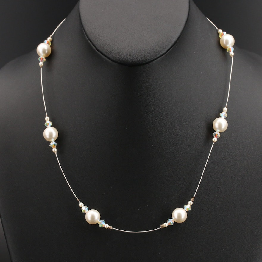 Pearl and Glass Station Necklace