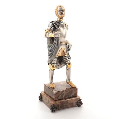 Anna Dauesiu Armored Knight Gilt and Silvered Bronze Figurine on Onyx Base