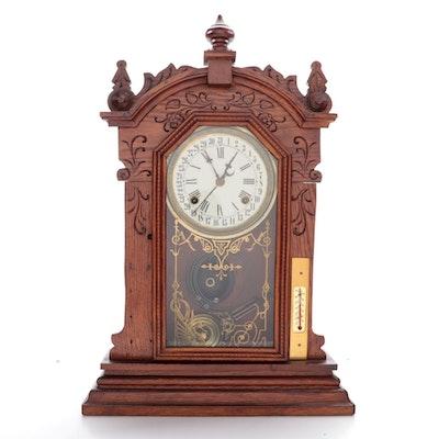 Waterbury Co. Oak Mantel Clock, Late 19th to Early 20th Century