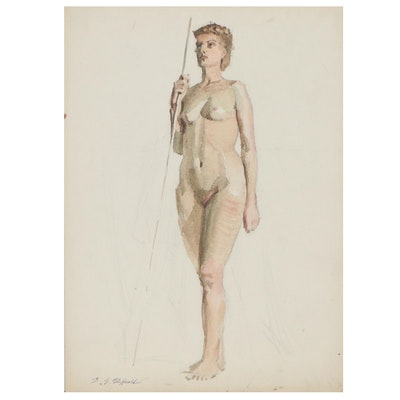 Edmond J. Fitzgerald Figural Watercolor Painting, Late 20th Century