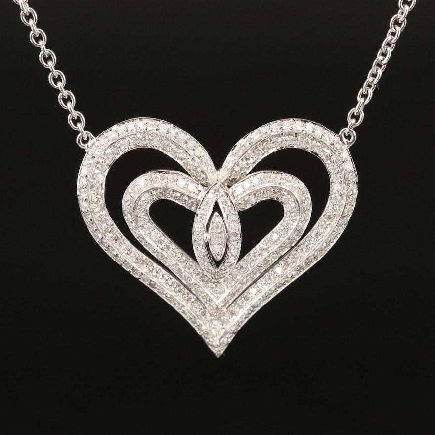 14K 2.00 CTW Diamond Heart Necklace