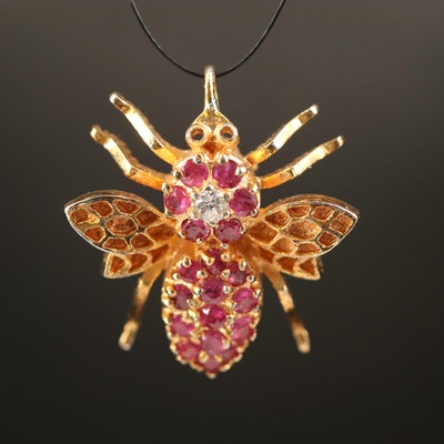 Sterling Cubic Zirconia and Ruby Insect Converter Brooch