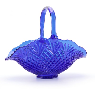 Cobalt Blue Pressed Glass Basket, Mid to Late 20th Century