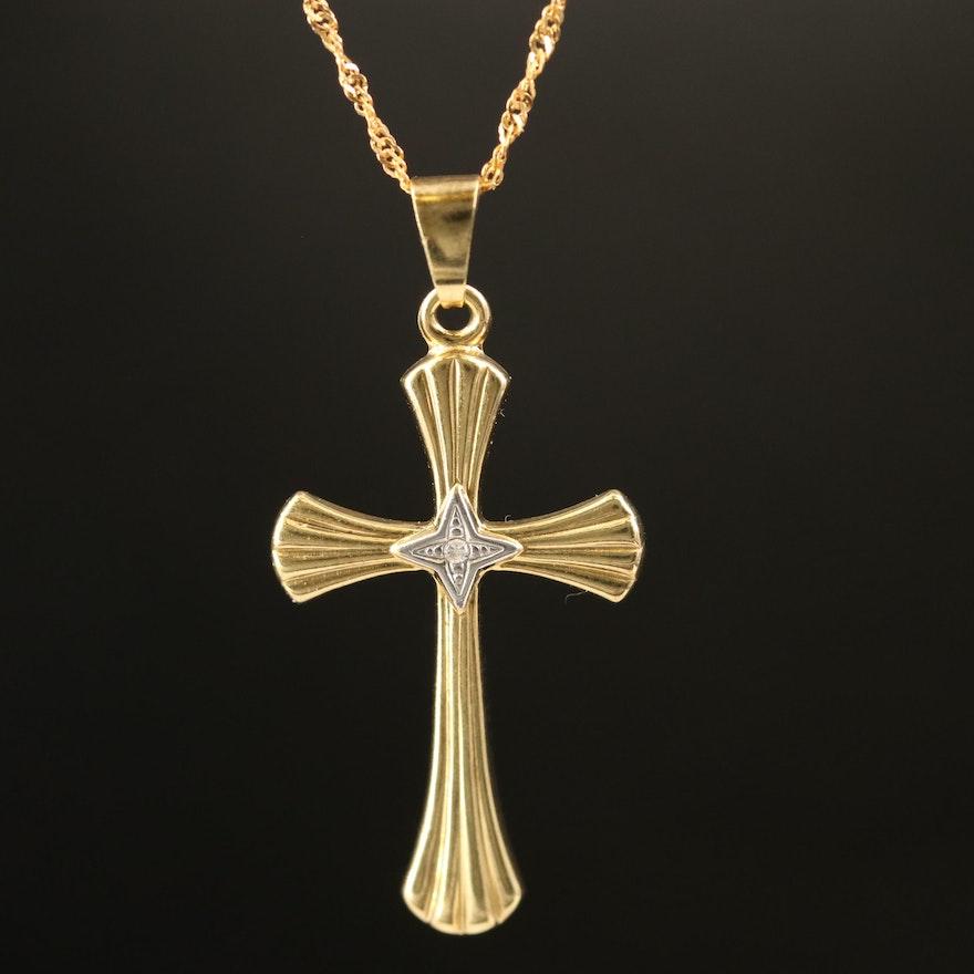 8K Gold Diamond Cross Pendant Necklace