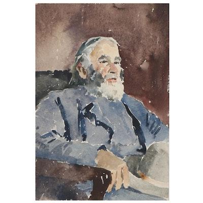 Edmond J. Fitzgerald Watercolor Portrait, Early 20th Century