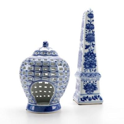 Chinese Blue and White Porcelain Ginger Jar Shaped Lantern and Obelisk