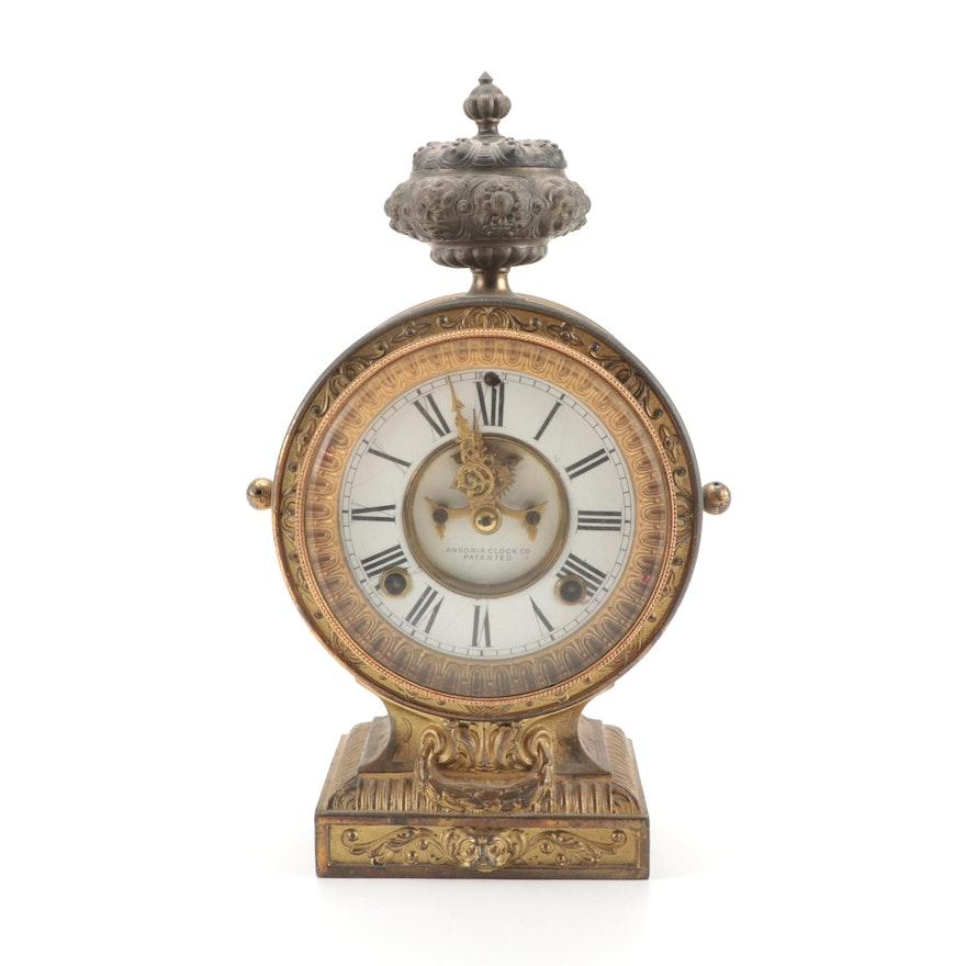 Ansonia Clock Co. Victorian Gilt Cast Spelter Clock, 1880s