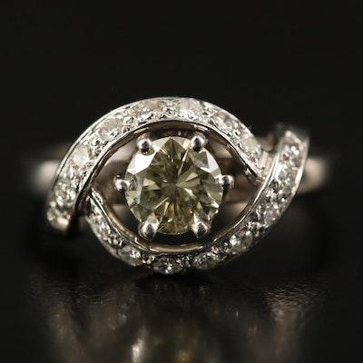 14K Diamond Ring with Twisting Design