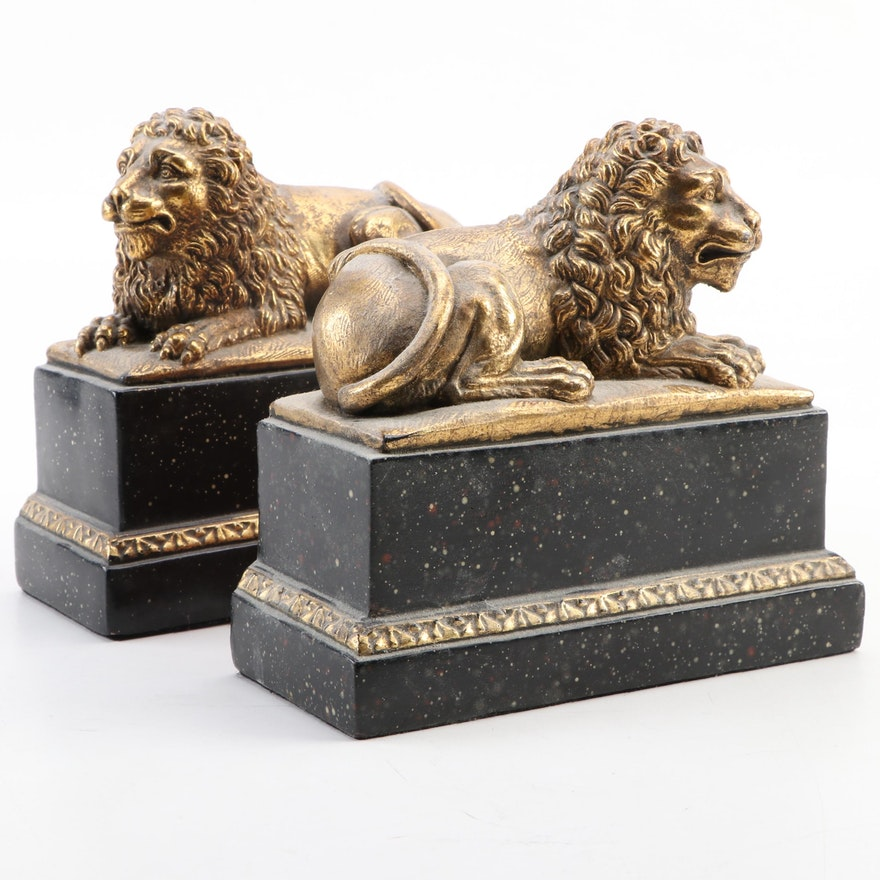 Borghese Gilt Composite Recumbent Lion Bookends, Mid to Late 20th Century