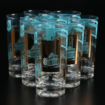 Libbey Steamboat Themed Glass Tumblers, Mid to Late 20th Century