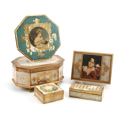 Florentine Jewelry and Decorative Boxes, Mid-20th Century