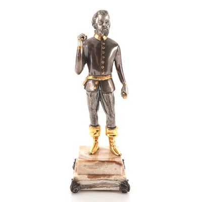 Anna Dauesiu Sculptor Gilt and Silvered Bronze Figurine on Onyx Base